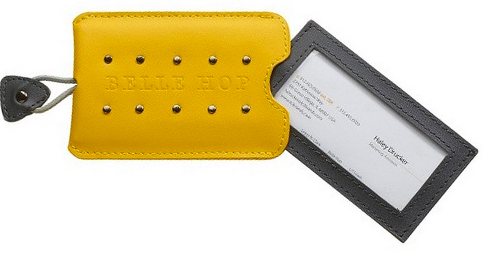Yellow leather studded business card holder luggage tag