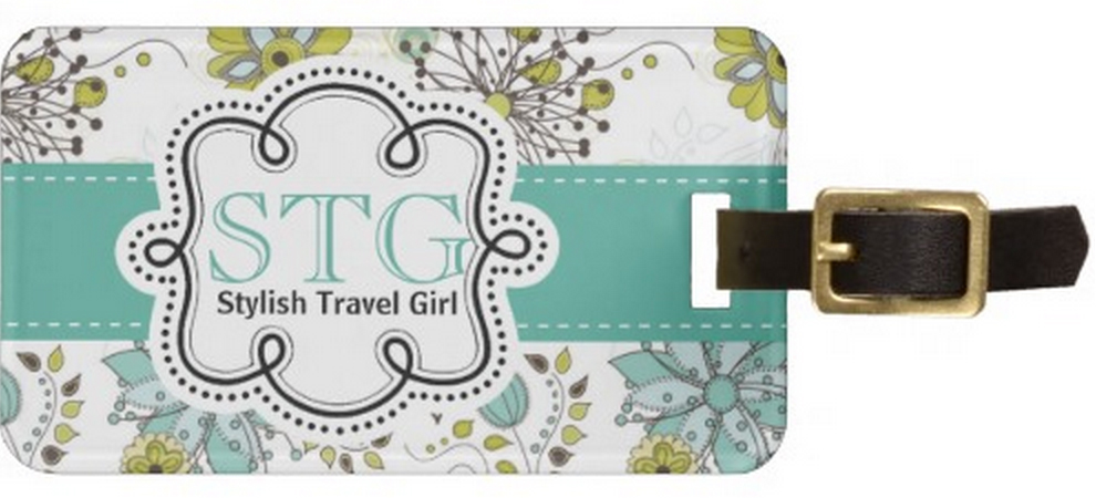 Floral Monogram Personalized luggage tag