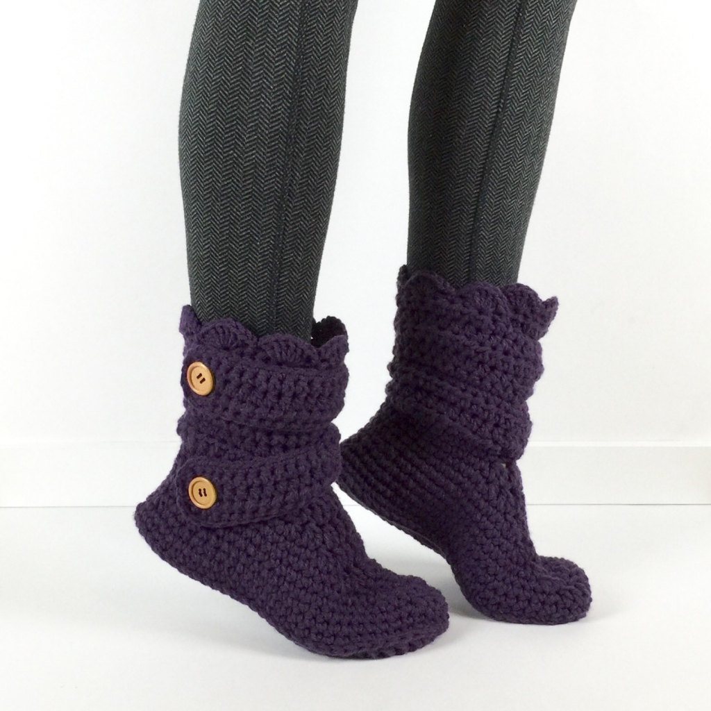 Women's Crochet Dark Purple Slipper Boots by StardustStyle