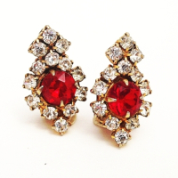 1960'S ROYAL RED RHINESTONE CLIP-ON EARRING from Juniper & Lane