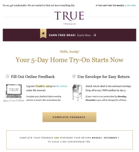 True&Co 5-day try-on email