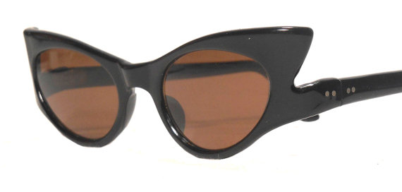black cat eye vintage sunglasses from FeverVintage on Etsy