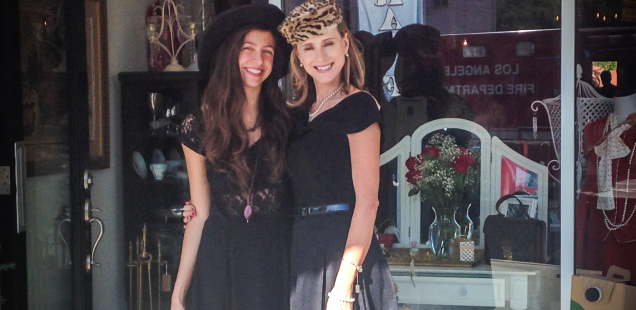 Christina and Cynthia, the mother-daughter duo, in front of their vintage store