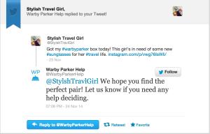 Warby Parker tweet response