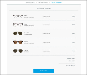 Warby Parker website glasses selection