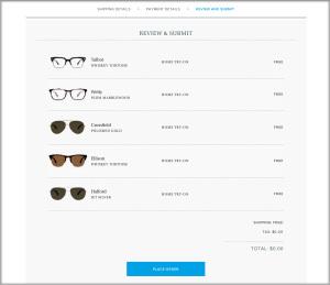 Warby Parker website glasses selection
