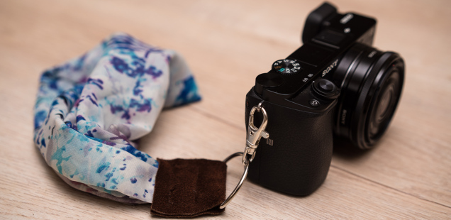 DIY silk scarf camera wrist strap