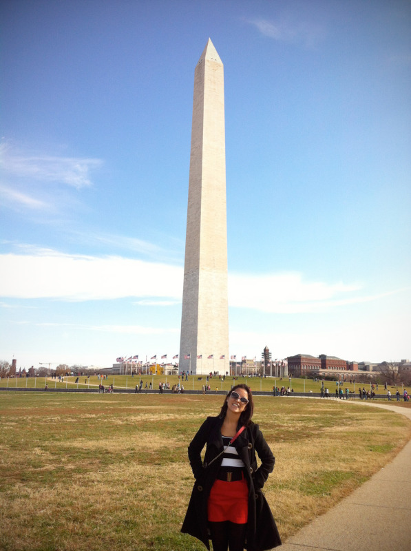 Cindy at the Washington Monument in D.C.