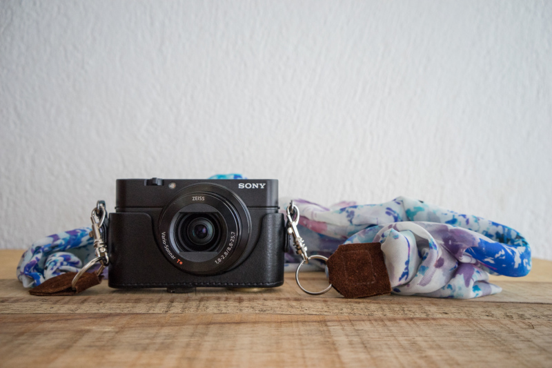 My Sony RX-100 III with my custom DIY scarf camera strap