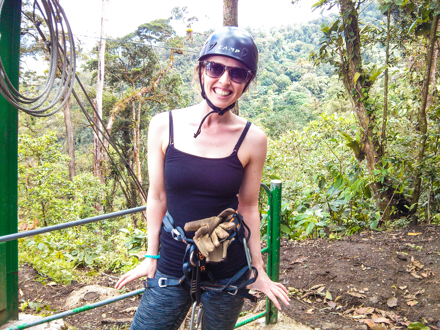 Diana Southern in her ziplining gear with Sky Adventures Costa Rica