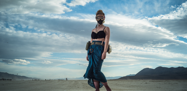 Burning man women's outfit 2014 with flowing skirt, dust mask and goggles
