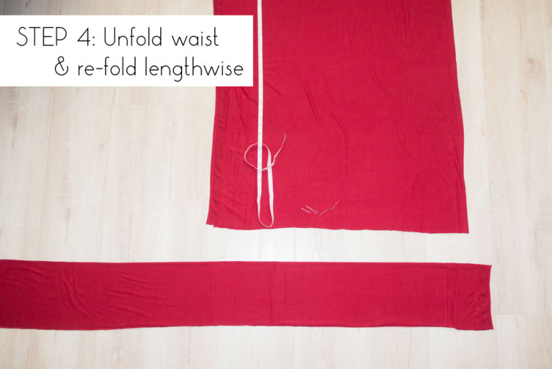 Step 4: Unfold waist and re-fold lengthwise