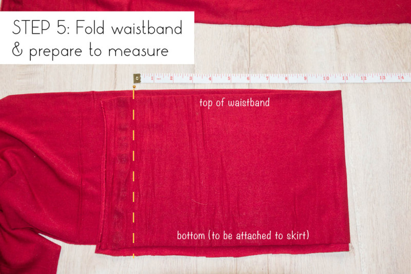 Step 5: Fold waistband and prepare to measure