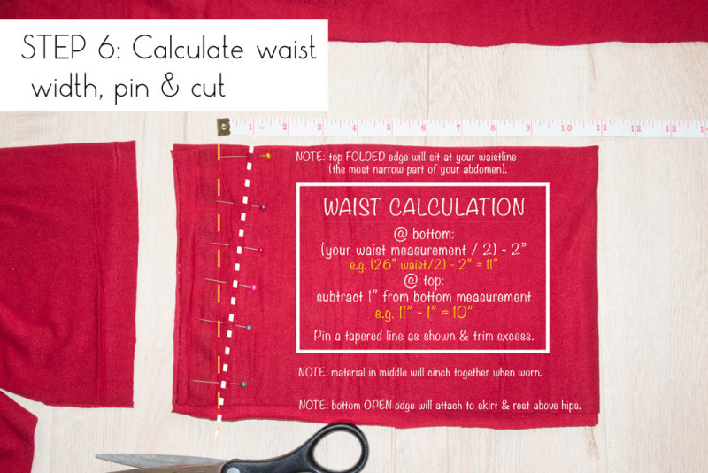 Step 6: Calculate waist width and cut