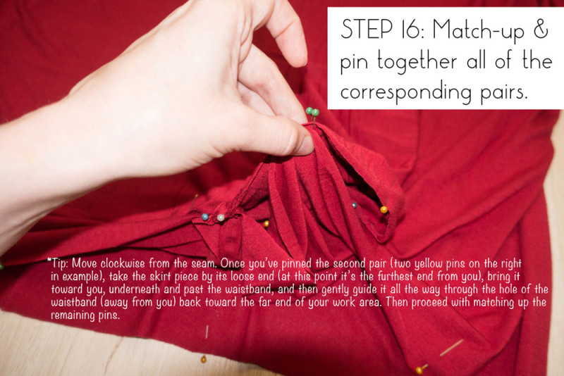 Step 16: Match up and pin together pairs of corresponding points
