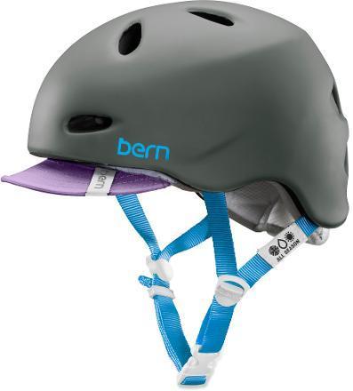 A stylish women's bike helmet with no ugly plastic visor and highlights of feminine colors - Bern Berkeley Bike Helmet - bit.ly/1Mb8Z9g