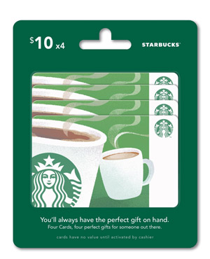 Starbucks $10 Gift Card (pack of 4 sold on Amazon) - amzn.to/1HUCFU4