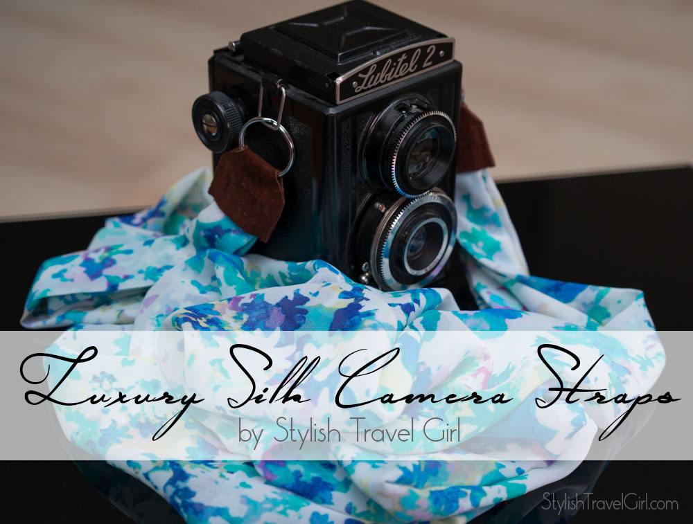 luxury silk scarf camera strap by Stylish Travel Girl