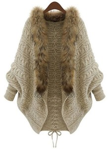 Sierra Snow Outfit on Stylish Travel Girl: Plus Size Bat Sleeve Wool Collar Lace-Up Women's Cardigan