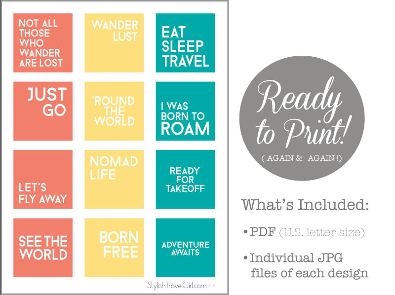 free ready to print travel quote designs by Stylish Travel Girl